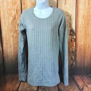 Athleta Knit Top Shirt Long Sleeve Texture Gray